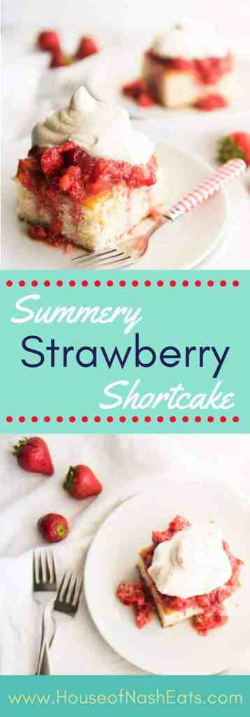 """This strawberry shortcake is the perfect dessert for showcasing summer's beautiful berries topped with a dollop of freshly whipped cream! Made with a vintage """"Best 2-Egg Cake"""" recipe and perfect for Memorial Day, the 4th of July or any summer celebration!"""