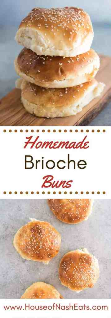 Golden homemade brioche hamburger buns topped with sesame seeds are perfect for pulled pork sandwiches, some grilled chicken & avocado, or your favorite hamburgers!