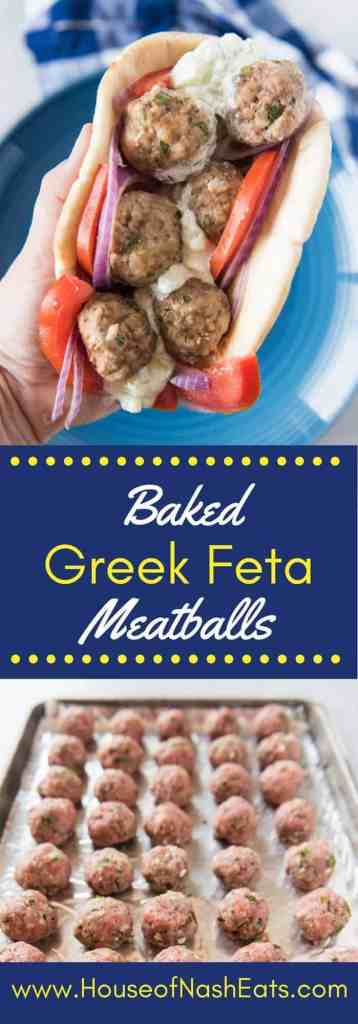 Rich ground lamb and ground beef and mixed with fresh parsley, garlic, feta cheese, breadcrumbs, and other herbs and spices to make these fantastic Baked Greek Feta Meatballs that go perfectly with some tangy, homemade tzatziki sauce, thinly sliced red onions and tomatoes, and a soft, grilled pita to create a gyro sandwich.