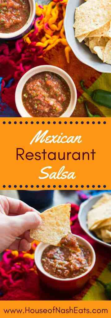 This easy Mexican Restaurant-Style Salsa comes together super fast and has the most amazing flavor!  Plus, you can make it thicker or thinner, or spicy or mild, depending on your preference.  Never buy store-bought salsa again!