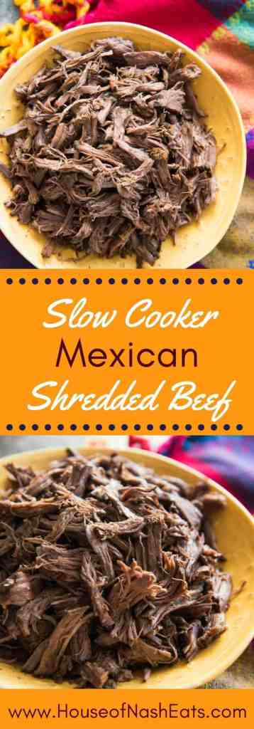 Slow Cooker Mexican Shredded beef is incredibly tender and delicious. It's super simple and easy to make and perfect for nachos, tacos, salads, burritos, chimichangas, chilaquiles, tamales and more!
