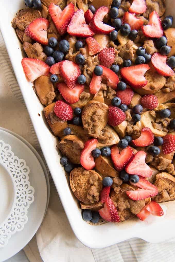 This simple, no-fuss, make-ahead Berry Breakfast Bagel French Toast Casserole is just the thing for a lazy weekend breakfast or brunch. Just prep it the night before and it's ready to go in the oven when you wake up!