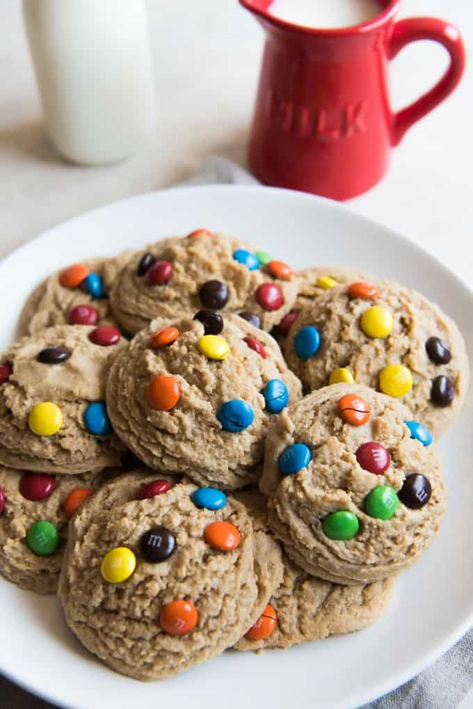 Big, Soft Baked Peanut Butter M&M Cookies are a cookie lover's dream! Classic peanut butter and chocolate combo in a perfect, jumbo sized cookie that stays super soft with a candy crunch in every bite!