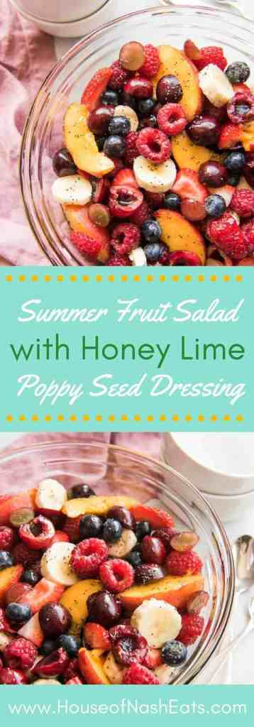 Light and refreshing, this easy Summer Fruit Salad with Honey Lime Poppy Seed Dressing is always a hit for entertaining at gatherings like potlucks, BBQ's, and cookouts! Topped with a bright, sweet and citrusy honey lime poppy seed glaze, and full of the best seasonal fruits of the summer, there are never any leftovers when this summer fruit salad is served!