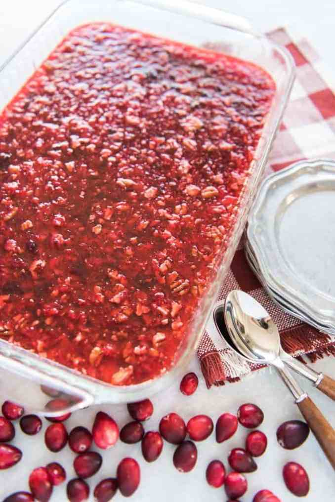 Cranberry Jello Salad with Cream Cheese Topping - House of
