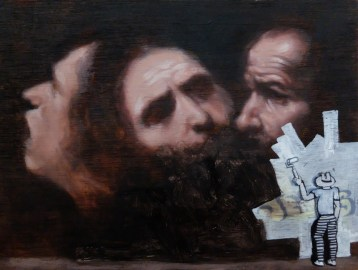 Caravaggio / Miniature Asshole. Oil and posca on wood, 23 x 39cm
