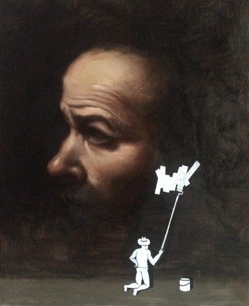 Caravaggio / Miniature Asshole. Oil and posca on canvas, 40 x 50cm