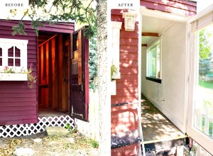 before & after art studio old tool shed renovation