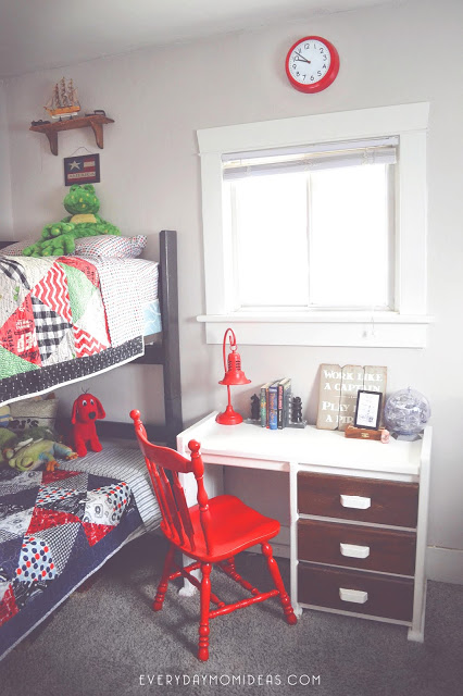 boys room red white blue desk
