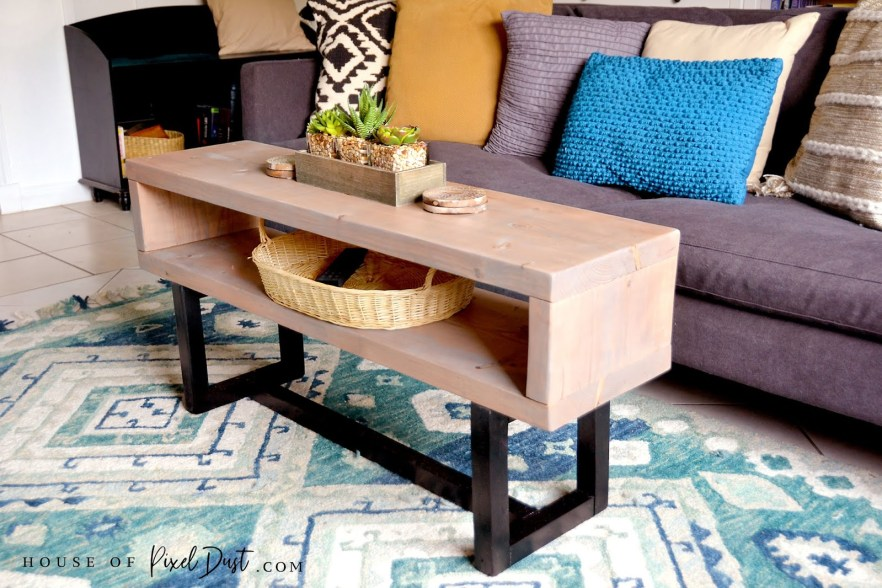 Incredible Diy Modern Wood Coffee Table Bench With Double Top Storage Creativecarmelina Interior Chair Design Creativecarmelinacom