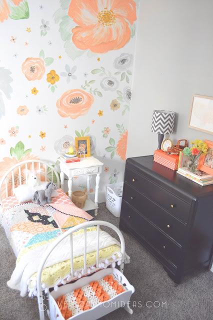 peach grey gold girls room