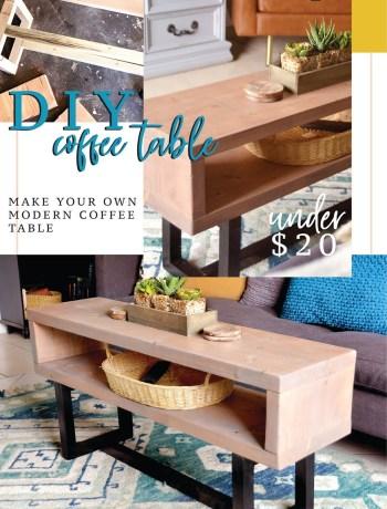 Pin It DIY natural wood coffee table easy tutorial