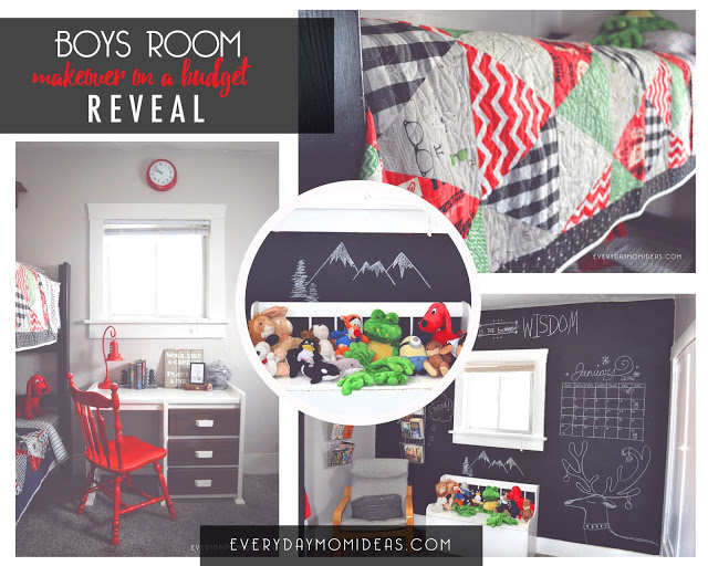 red blue white boys room make-over collage