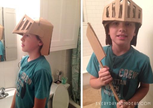 cardboard knights helmet and sword