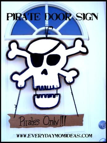 cardboard pirate door sign