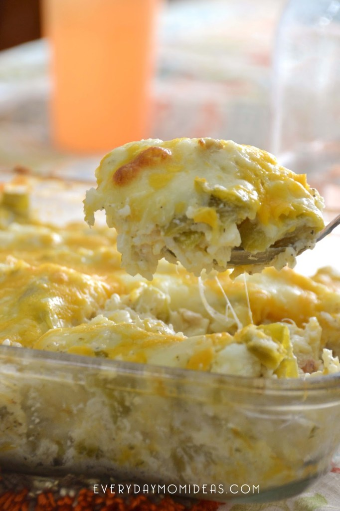 Cheesy Green Chili & Lime Rice Bake with Chicken