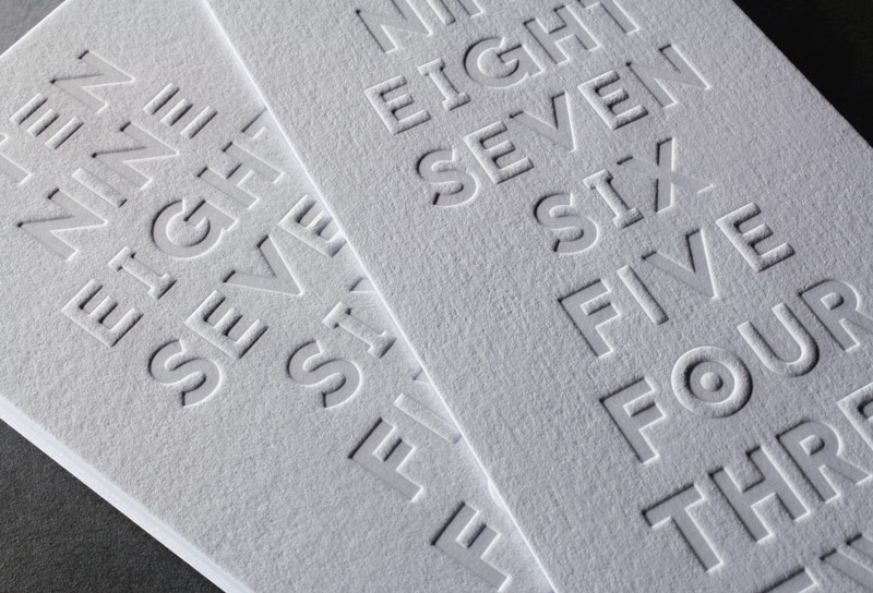 Example of embossing and debossing
