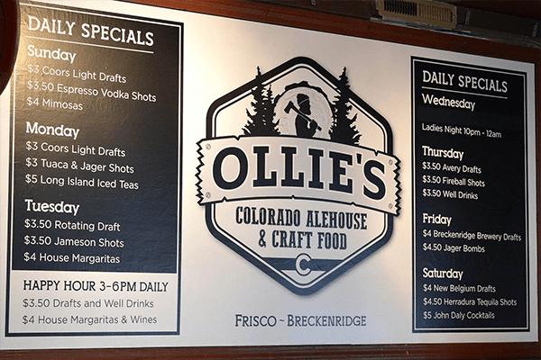 Ollie's Menu Indoor Sign