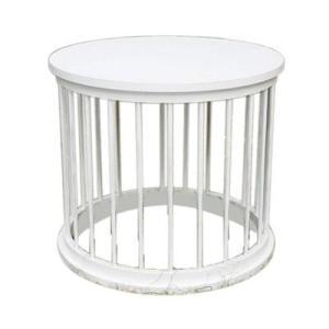 White Drum Dowel Table