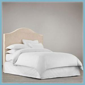 Camel coloured headboard with back loose cover