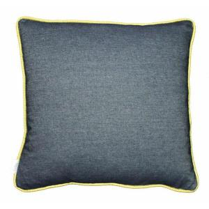 Denim scatter cushion with citron colour piping