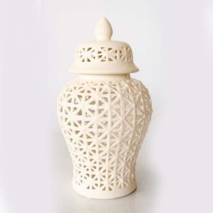 Large White Basket Weave Cut-out Ginger Jar