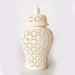 Large White Basket Weave Cut-out Ginger Jar