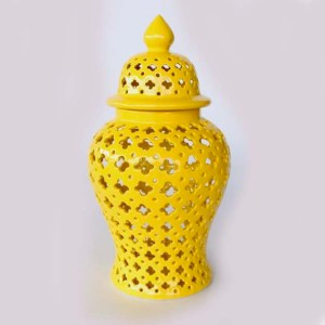 Large Yellow Cut-out Ginger Jar