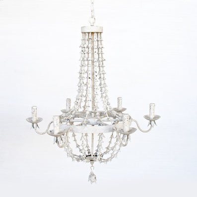 ANTIQUE WHITE METAL PETAL 6 LIGHT CHANDELIER