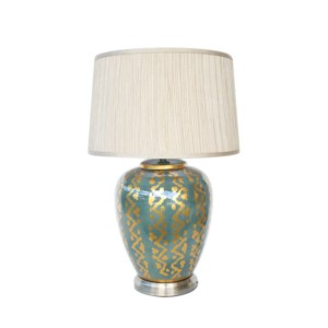 TEAL & GOLD DESIGN LAMP GOLD SHADE