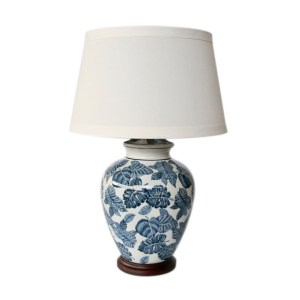 BLUE LEAVE WHITE LAMP BASE WITH SHADE