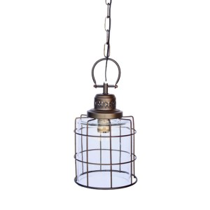 METAL & GLASS ROUND HANGING LIGHT