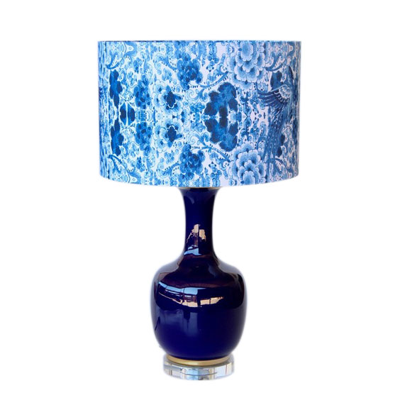 NAVY BLUE GLASS LAMP WITH BLUE FLORAL SHADE