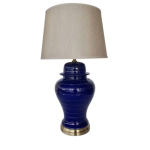 Blue Ginger Jar Lamp Base with Shade