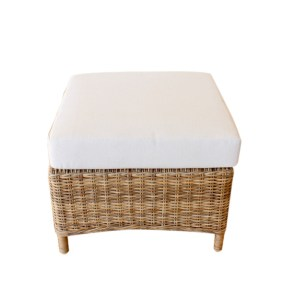 OUTDOOR FOOTSTOOL 57X57CM WITH OFF WHITE CUSHION