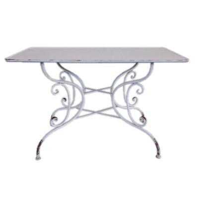 cream metal rectangular tables