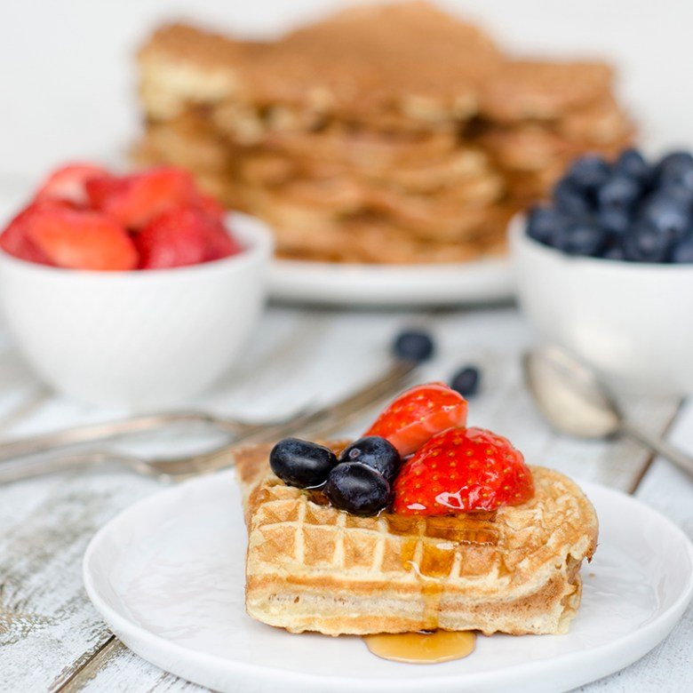 Waffles with syrup and buttermilk