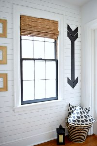 Holy Gorgeousness!! Black & White Hallway with Gold Studded Shiplap.