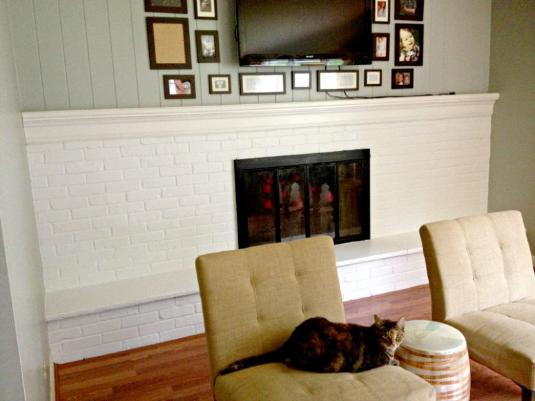 Before: White Fireplace goes Black!