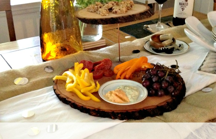 Double Tiered Wood Slice Serving Platter
