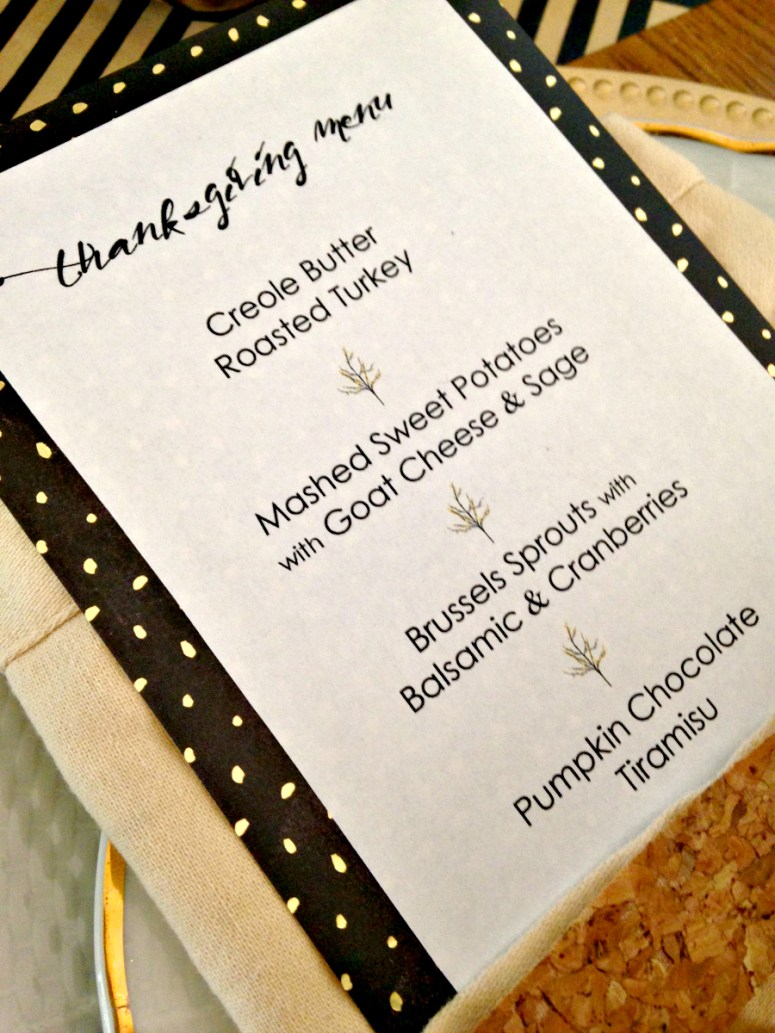 Gold thanksgiving Menu