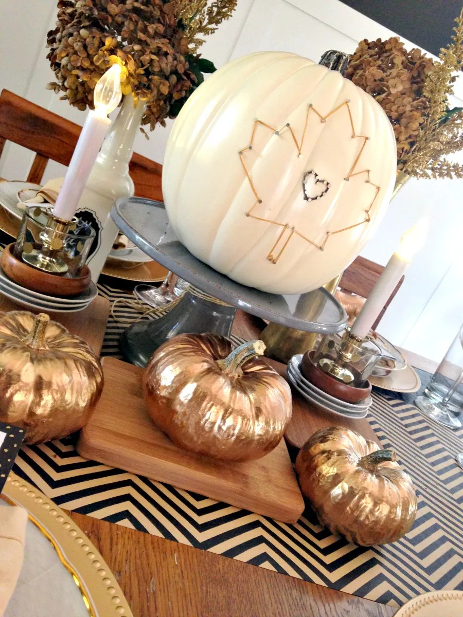 white and black gold thanksgiving table by Houseologie