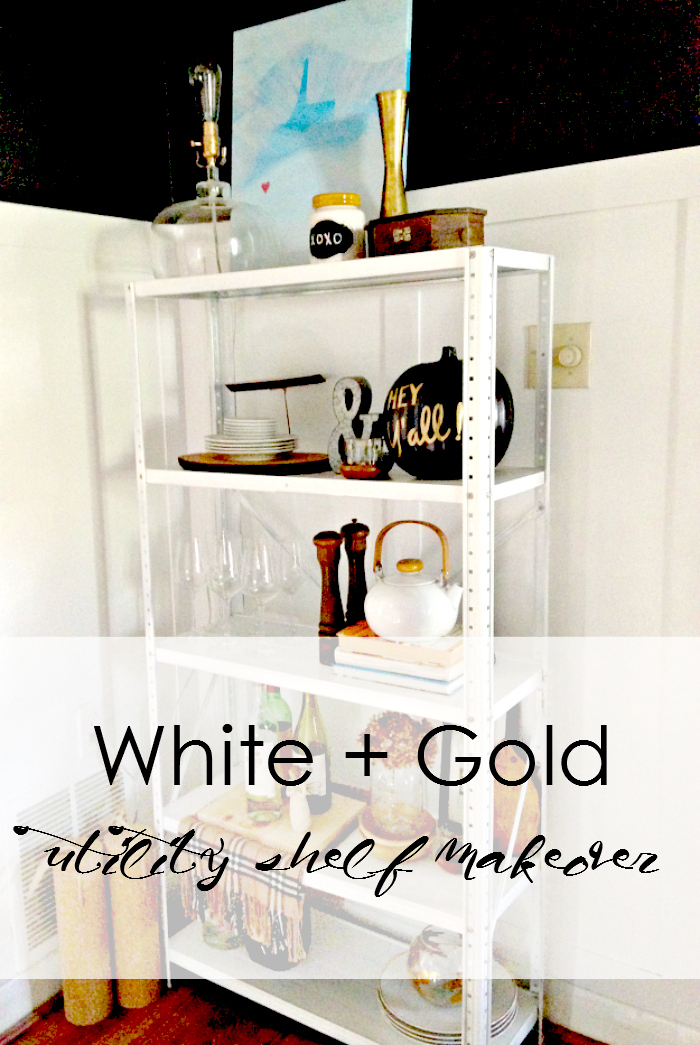 White and Gold Utility Shelf Makeover