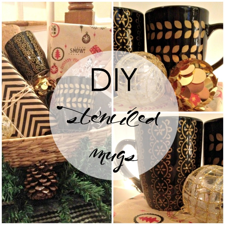 DIY Stenciled Mugs