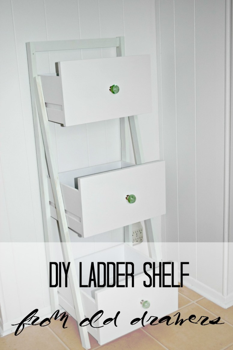 DIY Ladder Shelf from Old Drawers