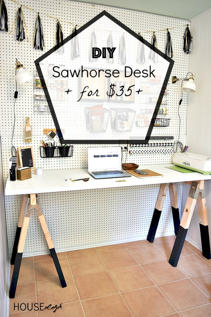 DIY Sawhorse Desk for $35