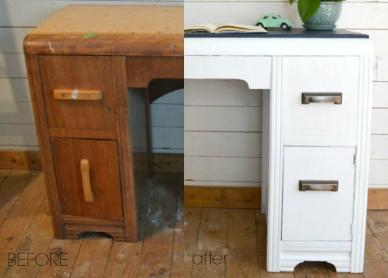 Painted Waterfall Desk with a Twist!