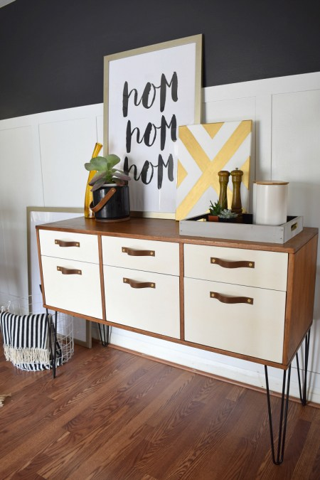 DIY Leather Drawer Pulls on MCM Credenza