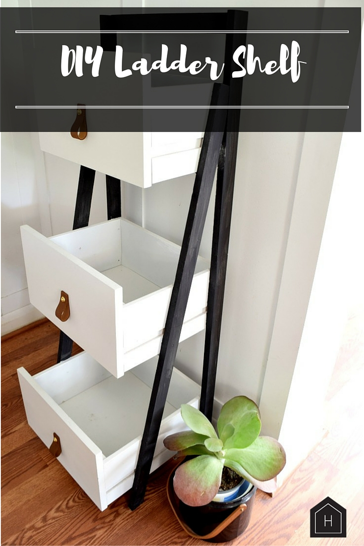 Build your own ladder shelf from cast off drawers!