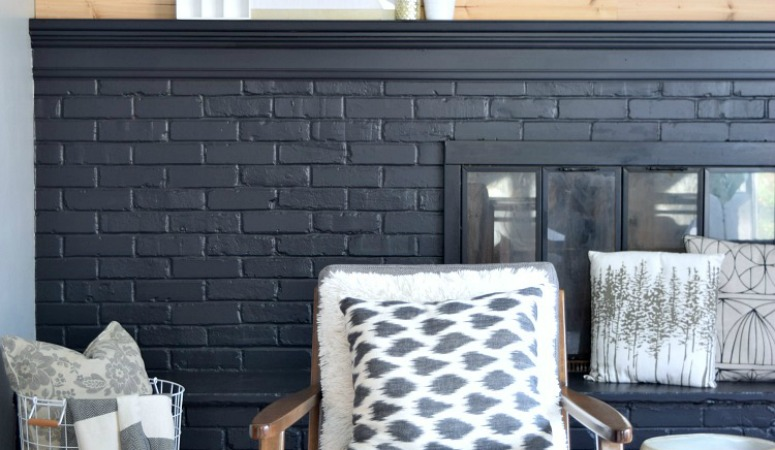 How to Paint A Brick Fireplace Black – Before & After